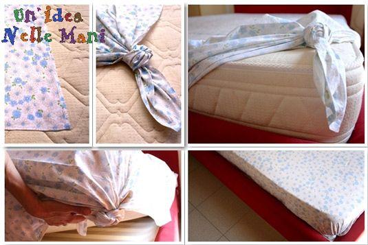 idea per fare gli angoli alle lenzuola senza cucire!