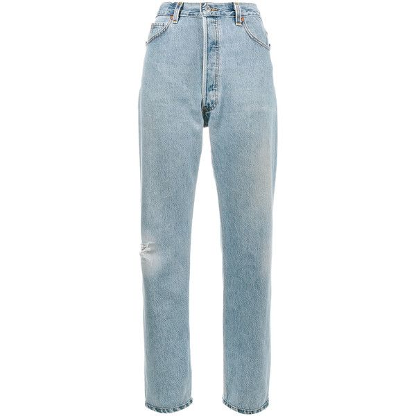 Re/Done Levi's Ultra high rise boyfriend jeans (2421785 PYG) ❤ liked on Polyvore featuring jeans, blue, high waisted blue jeans, destructed boyfriend jeans, ripped boyfriend jeans, destroyed boyfriend jeans and high-waisted jeans