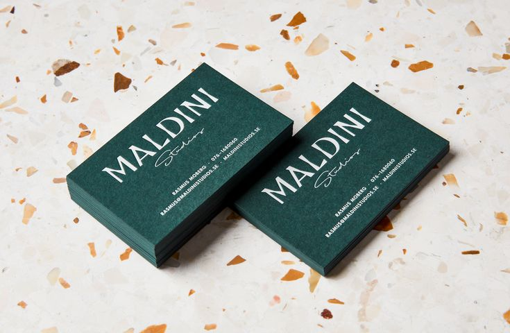 Logotype and letterpress business cards by Jens Nilsson for interior design and carpentry business Maldini Studios