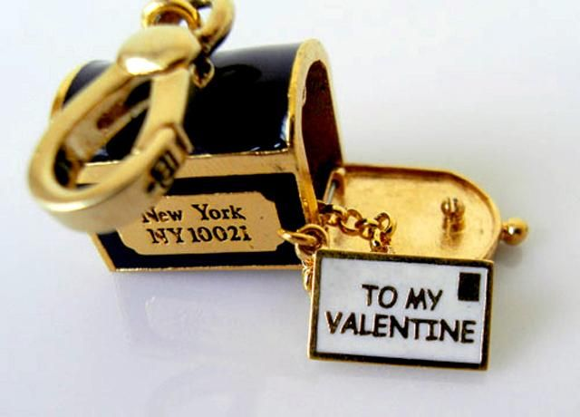 retired juicy couture  charms | Pre-owned Juicy Couture 14K Yellow Gold-Plated Mailbox Charm (Retired)