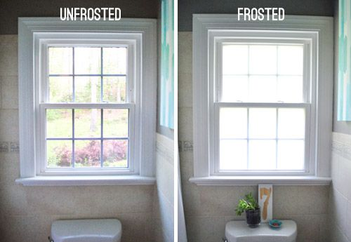Frosting, Tanking, And Sucking It Up | Young House Love - how to frost your windows and keep nosey neighbors out of site!