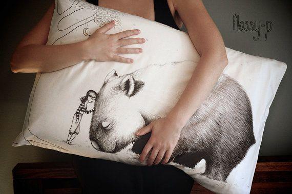 Wombat Pillowcase, with Girl facing Left by flossy-p (flossypArt) on Etsy, $35.00  #Pillow #pillowcase #pillowslip #sham #bedlinen #nativeAustralian #animal #Australian #wombat #drawing #flossyp #flossy-p