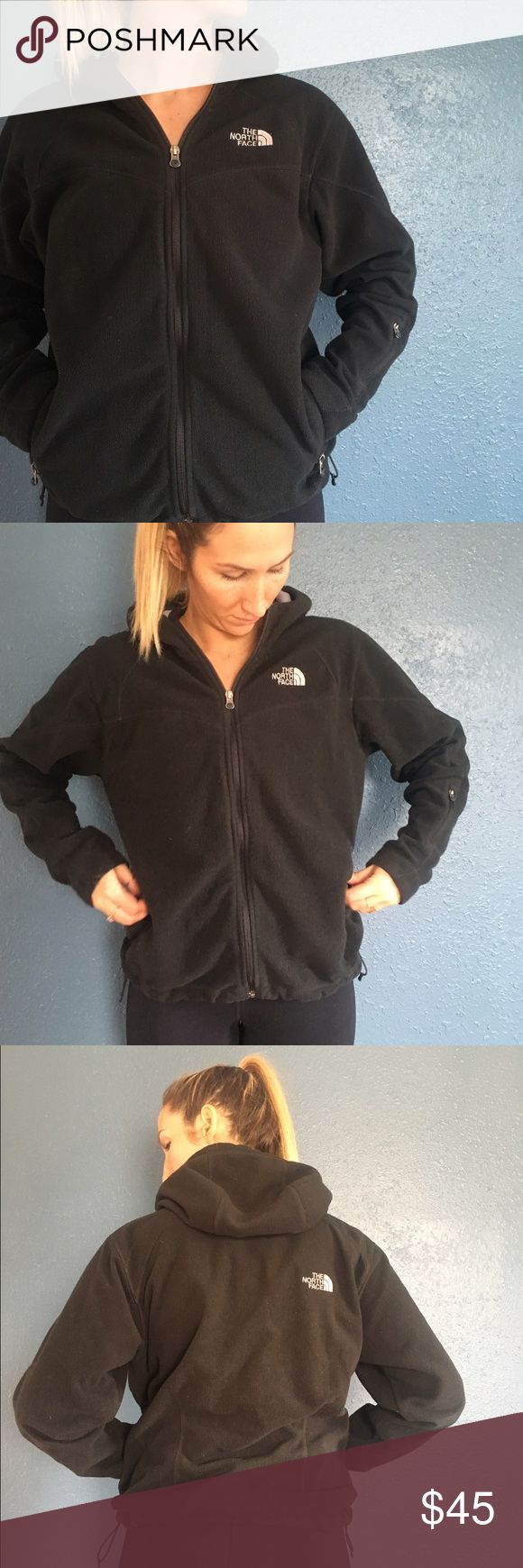 Black North Face zip up hooded Fleecr sz L Womens Black North Face zip up hooded fleece with zip pockets! Definitely worn, but still looks good. North Face Jackets & Coats
