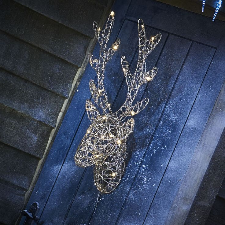 Wilko christmas led glittery light up stag head battery operated