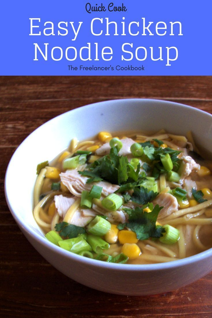 This chicken noodle soup is a low prep, one pot meal that's on the table in 10 minutes. It makes a brilliant healthy lunch or weekday dinner. Contains noodles, chicken, sweetcorn, miso soup paste and spring onions/scallions