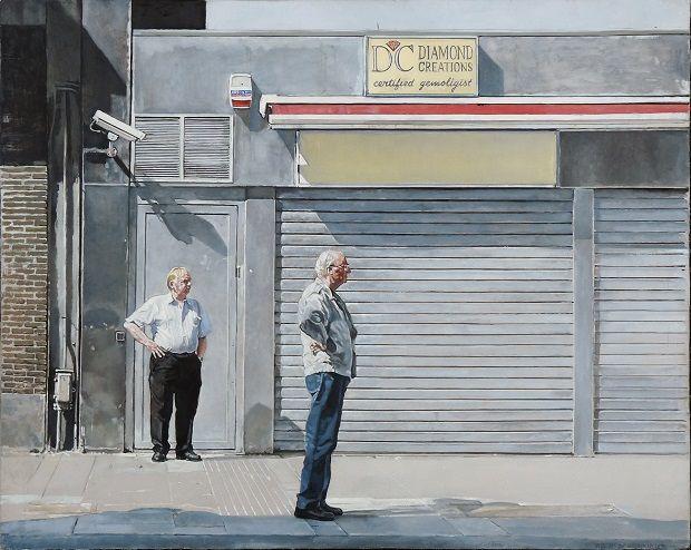 Robert De keersmaecker, 'Wachten', acryl en olieverf op doek - 50 x 40 cm, 2012
