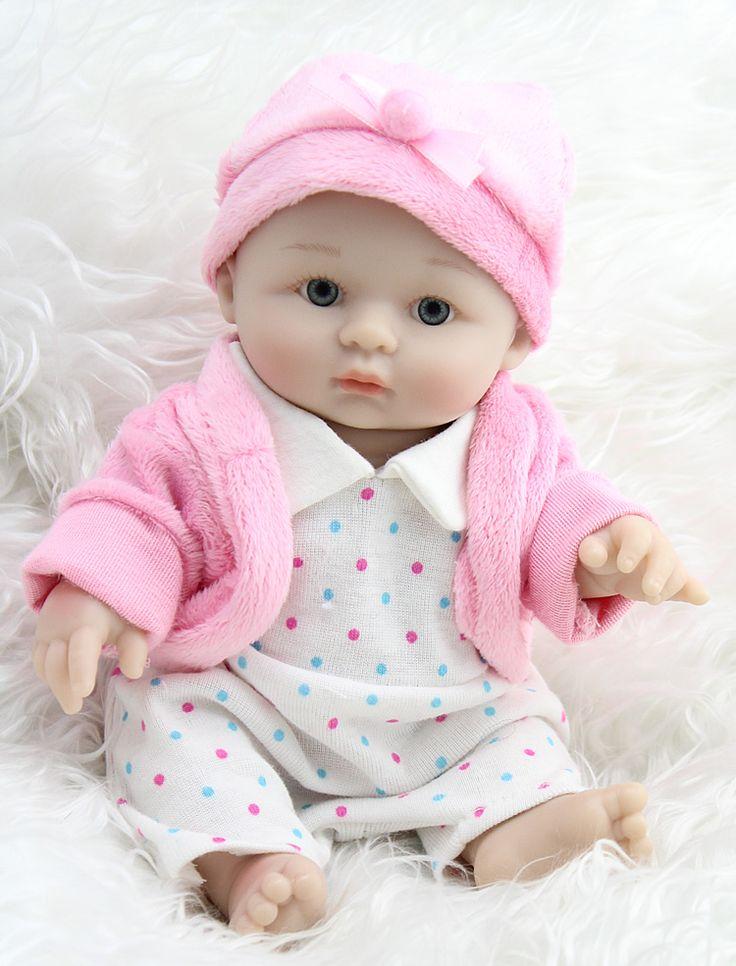 Wholesale New baby silicone reborn dolls Fashion reborn babies dolls lifelike 25cm Silicone Vinyl boy and girl doll 100% handmad