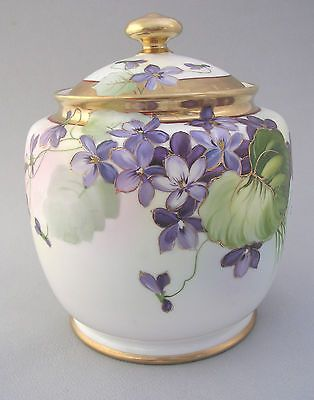 NORITAKE PORCELAIN BISCUIT BARREL - HAND PAINTED VIOLETS