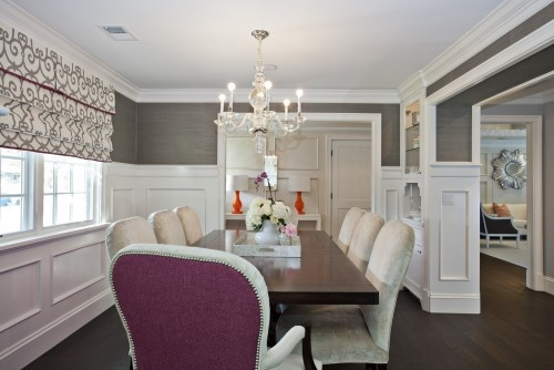 Love grey and white together {traditional dining room by Fiorella Design}Traditional Dining Rooms, Romans Shades, Colors, Living Room, Diningroom, Dining Room Design, San Francisco, Gray Wall, Gray Painting