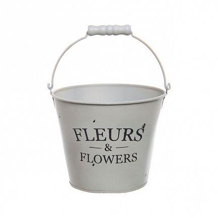 Tin Bucket Jardinier Round Handle 16.5Dx13.5cmH White