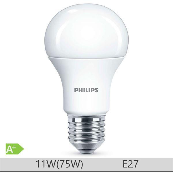 Bec LED Philips 11W E27, forma clasica A60, lumina calda http://www.etbm.ro/tag/148/becuri-led-e27