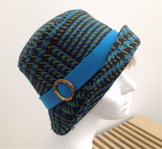 Multicoloured 1920s inspired cloche hat, size 58 to 60 cm
