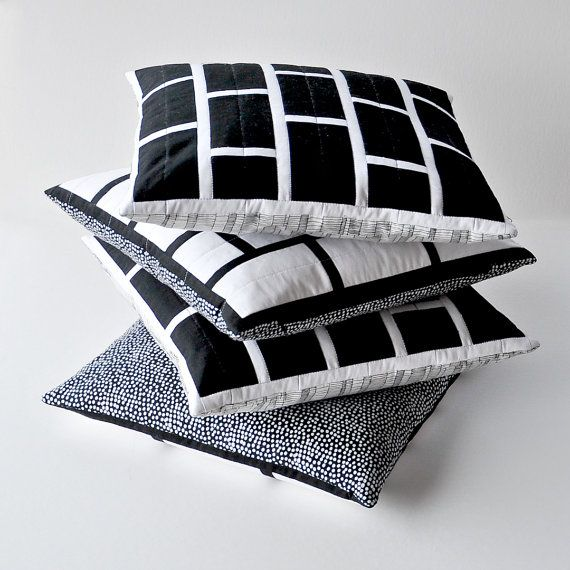 Black brick quilted cushion cover: Modern by EdgeEffects on Etsy