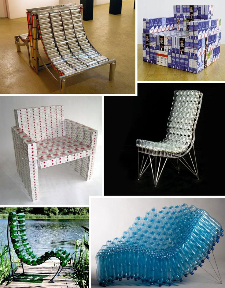 """1. The """"Mad-700-Chair""""— by MadC is an M-shaped double sling.  2. The """"294 Liter Sitzen"""" [see comments below]is an armchair made from 294 Tetra-Pak cartons by Fabian Jochen Kanzler & Steve Michaelis.  3. The """"Lucky Chair"""" is Roeland Otten's armchair made from 400 empty packs of Lucky .  4. The """"Jar Chair"""" is made from 96 baby food jars by Johnny Swing.    5. A chair made from glass bottles, but I can't tell you who made it.    6. The """"SIE43 Chair"""" is made by Pawel Grunert from PET bottles."""