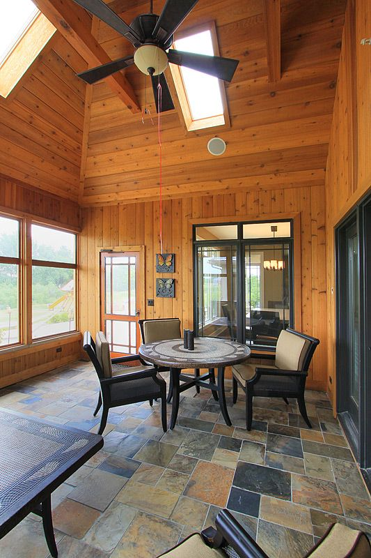 Knotty Pine Sun Room With Slate Floors Home Design Ideas