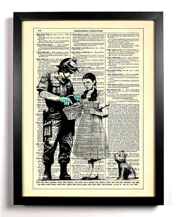 Dorothy In Trouble, Street Art Banksy Repurposed Book Upcycled Dictionary Art Vintage Print Recycled Page Buy 2 Get 1 FREE on Etsy, $6.99