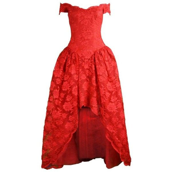 Preowned Scaasi Vintage Red Lace & Tulle High-low Ball Gown, 1980s ($675) ❤ liked on Polyvore featuring dresses, gowns, ball gowns, red, red evening gowns, off the shoulder evening dress, evening dresses, formal evening gowns and high low evening gowns