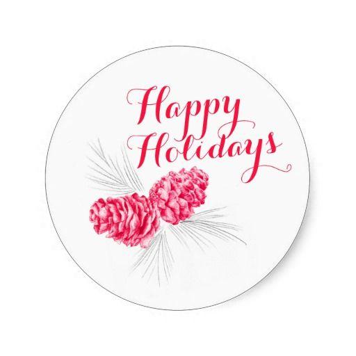 Happy Holidays Christmas pine cones art sticker. Pencil drawing by www.sarahtrett.com