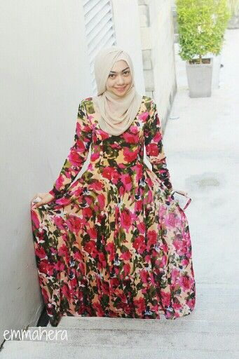 Hijab style | abstract long dress