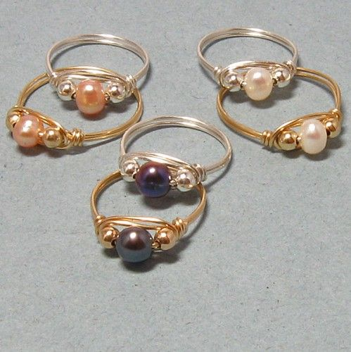Wire Wrapped Cultured Pearl Rings