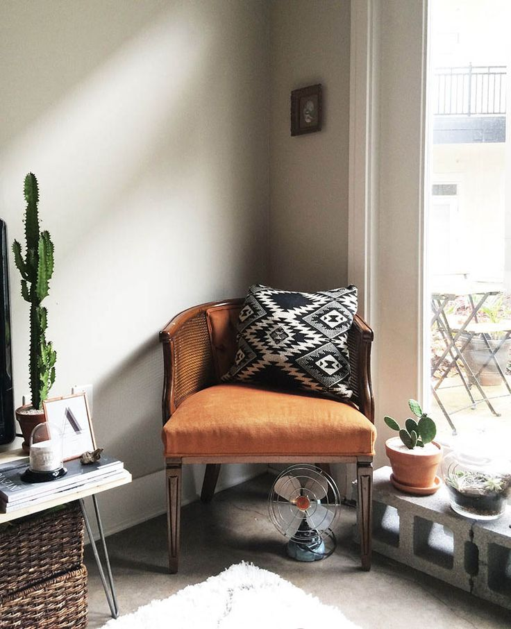 midcentury modern with tribal pillow