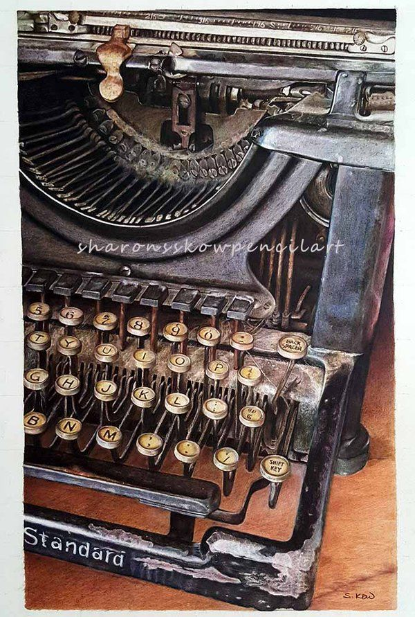 """Sharon ss Kow - """"Of Time Long Past"""" 22""""x15"""" Faber-Castell Polychromos. #colorpencil #antique #typewriter"""