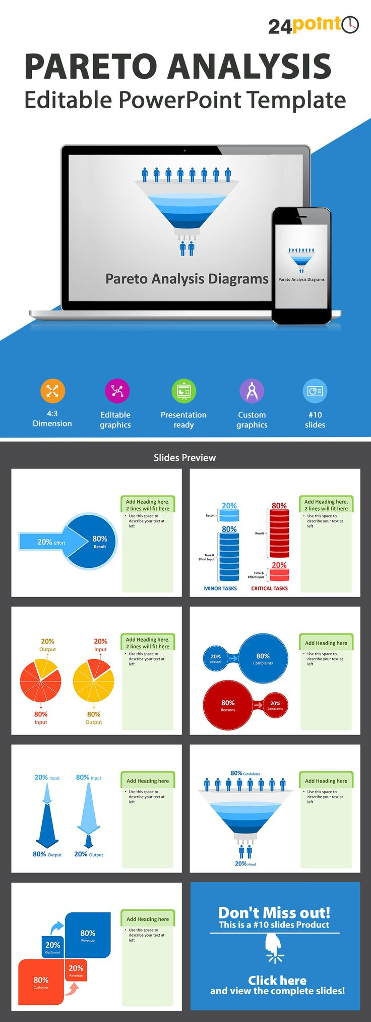 Pareto Analysis PowerPoint Template - This template contains ten professionally designed ready-to-use diagrams based on the Pareto principle, also known as the '80/20 rule'. Visit our store today.