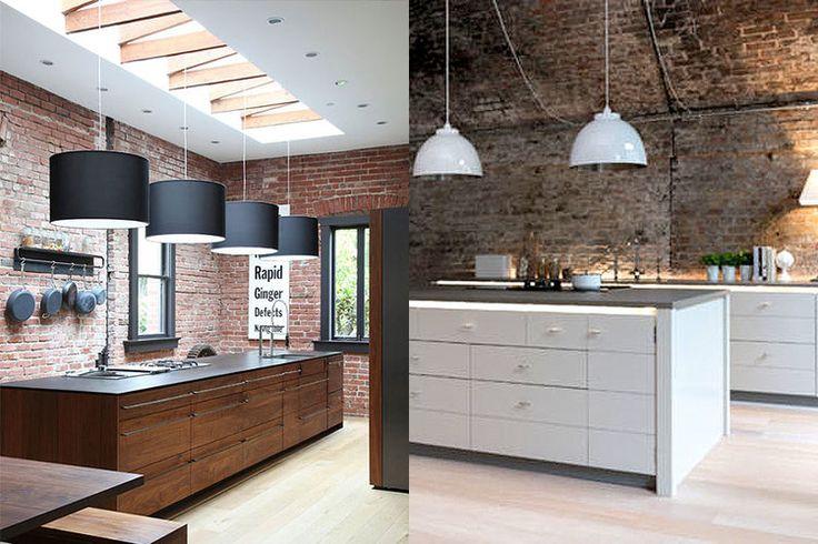Industriële look van een keuken - 6 ingredienten, veel inspiratie, tips en advies - Foto's van keukens waarin veelvuldig bakstenen als muur in het zicht zijn gelaten.