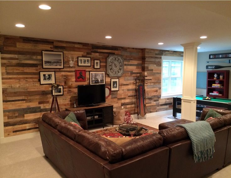 Great looking accent wall sent in from a customer in Kentucky. Pictured here is our Prefab Wall Panels in our All Natural Pallet Wood.