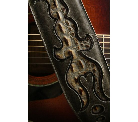 "Guitar Strap:  military green leather guitar strap ""Ventura Guitar Strap"", $230.00"