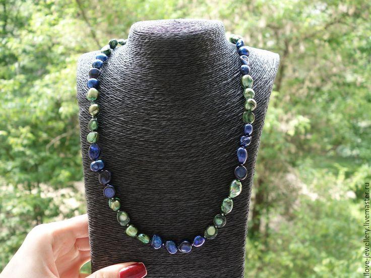 """Купить """"Марта"""" - стильное сине-зеленое ожерелье из барочного жемчуга - разноцветный, ожерелье из жемчуга"""