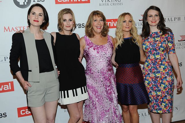 "The ladies of MASTERPIECE ""Downton Abbey, Season 4"" look stunning at the TCA Press Tour in LA. Pictured: Michelle Dockery, Laura Carmichael, Phyllis Logan, Joanne Froggatt and Sophie McShera. (photo: Rahoul Ghose/PBS)"