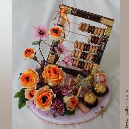 Персональные подарки ручной работы. Ярмарка Мастеров - ручная работа. Купить Шоколадные счеты - подарок для бухгалтера. Handmade. Деньги, цветы