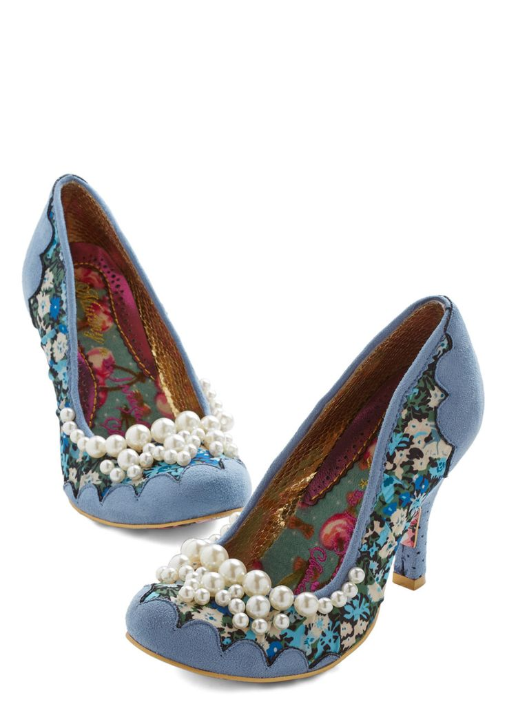 Ode to Opulence Heel. Pay homage to luxurious style by slipping on these dynamic, periwinkle-hued heels by Irregular Choice! #blue #modcloth
