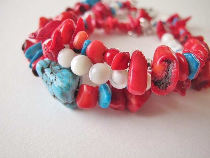 Christmas Gift-Natural Coral Turquoise Bracelets Set-Merry Christmas Bracelet-Handmade Jewelry-Red White Turquoise Bracelet-Beaded Bracelets by ClassyTouchByValia on Etsy