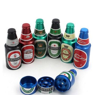 3 Layers Bottle Style Zinc Alloy Tobacco Grinder Herb Crusher