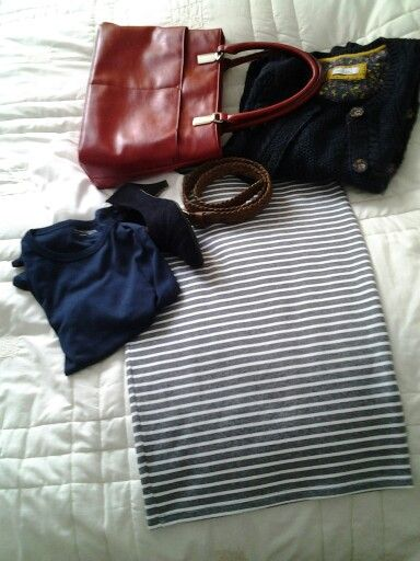 Marks&Spencer skirt, two tshirts, navy shoes,navy chunky jacket, leather belt