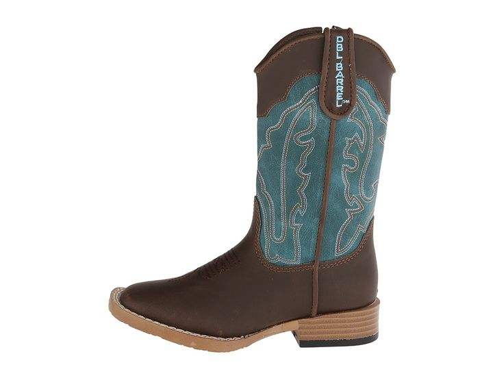 M&F Western Open Range Zip (Toddler) Cowboy Boots Brown/Turquoise