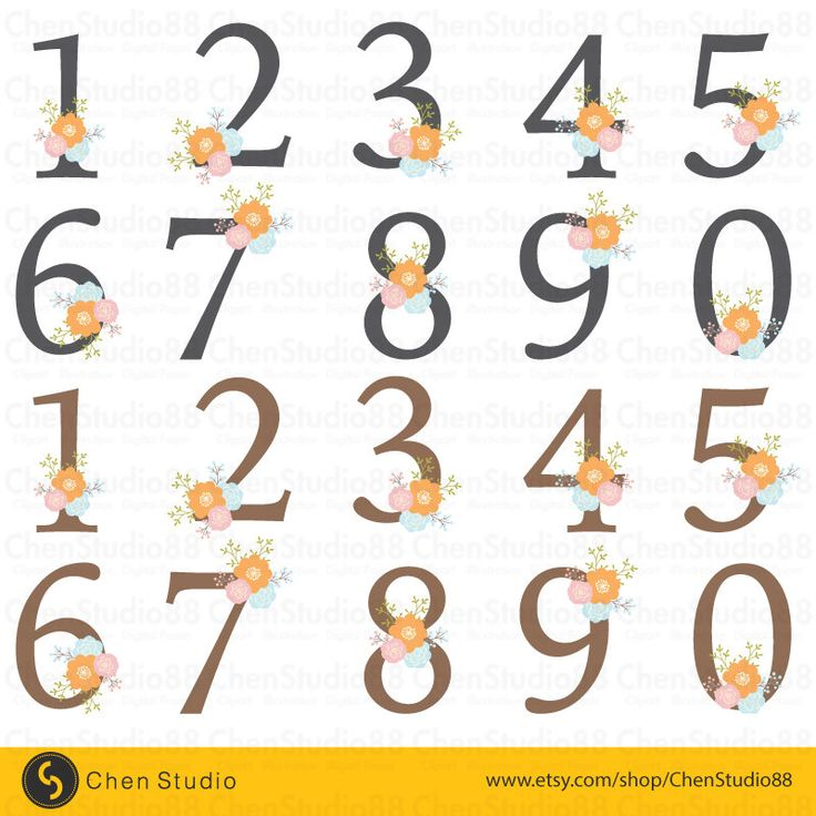 Floral number vector - Digital Clipart - Instant Download - EPS, PNG files included by ChenStudio88 on Etsy https://www.etsy.com/listing/243736550/floral-number-vector-digital-clipart