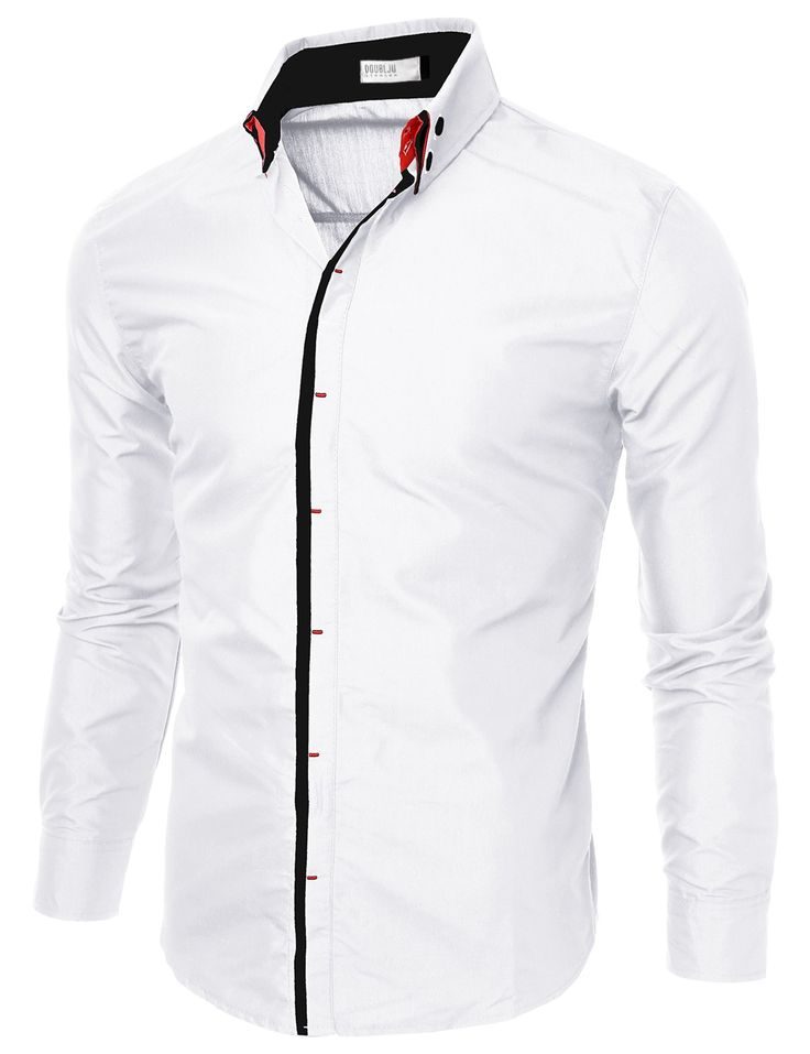Mens Slim Fit Shirts With Double Collar #doublju