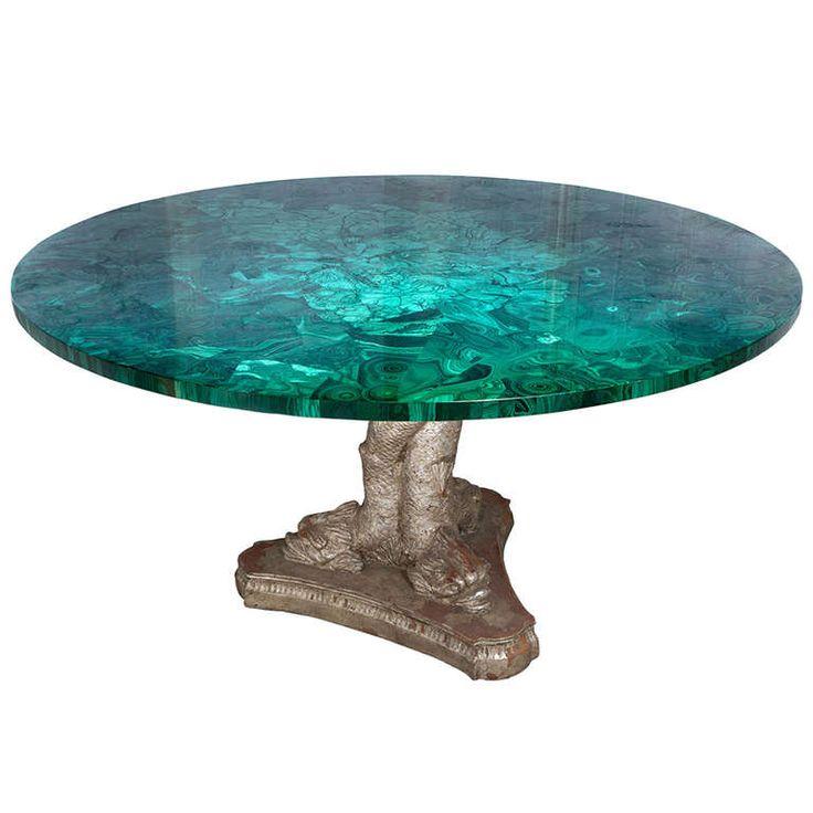 rare russian malachite stone round table