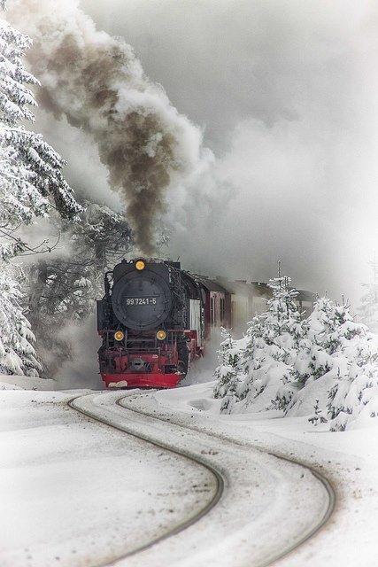 Train Travel Photographs - A Vintage Steam Locomotive in Winter Time ... See more @gr8traveltips