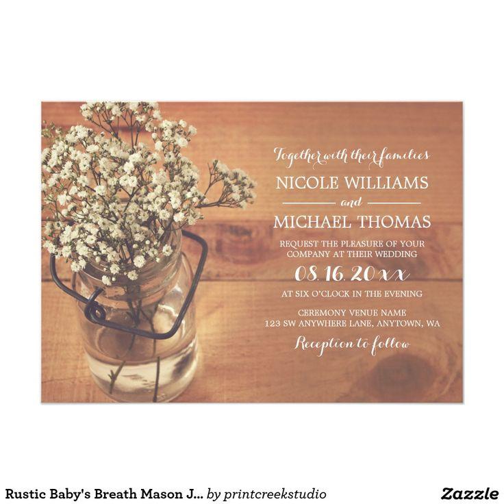baby's breath mason jar lights bridal shower card – frenchkitten, Baby shower invitations