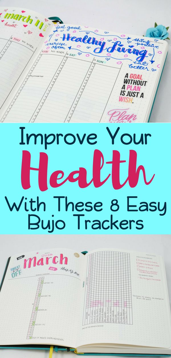 Bullet Journal Trackers- Learn how these 8 bullet journal trackers improve your health and well-being! Get tons of inspiration and ideas to make your bullet journal kick start your healthy living journey!