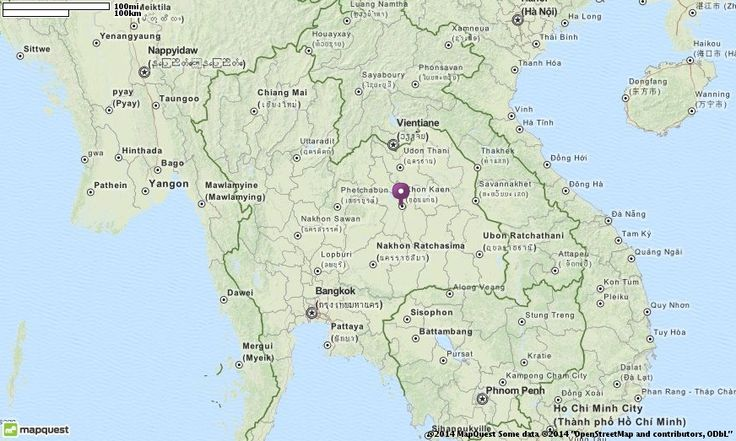 Editable Map of Khon Kaen Thailand in Khon Kaen, Thailand