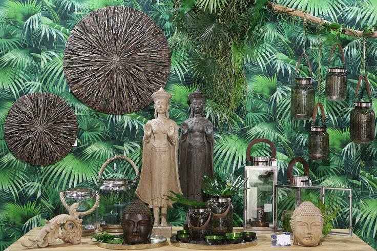 Living Room decoartion ideas, Buddha, Jungle wall