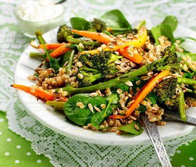 Recept: Rostad bellaverde med apelsinvinägrett och fetaostkräm
