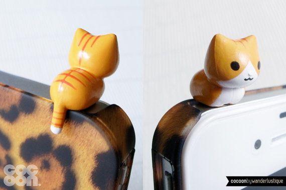 SALE30 OFF Lindo gatito agazapado iPhone tapón. por CocoonByWL, $4.20