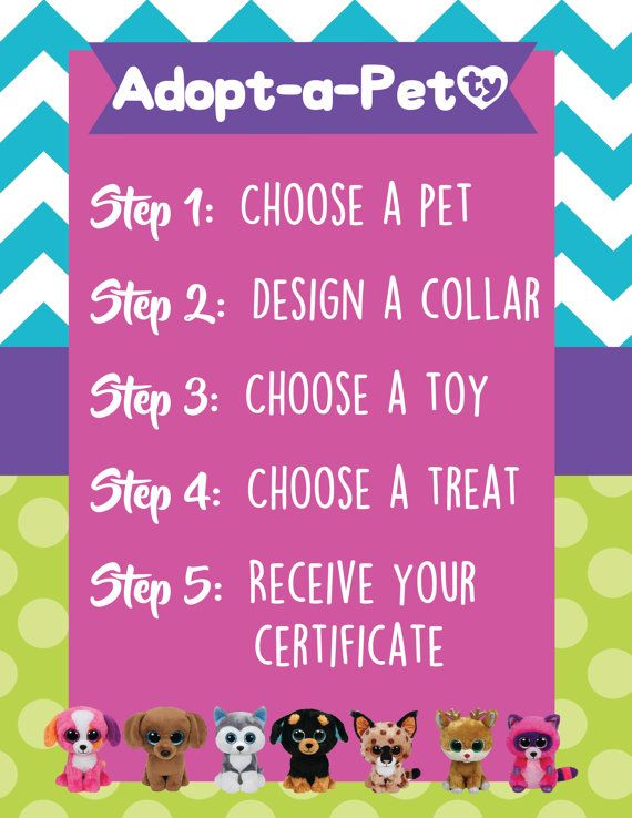 Adopt-a-Pet Process Sign Beanie Boo Party by MillennialMomLife