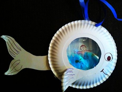 A plastic bag full of blue dish soap makes it seem like we are looking at Jonah through water in the belly of the fish.